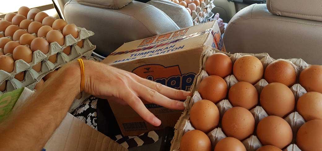 ingeladen auto met voedselpakketten